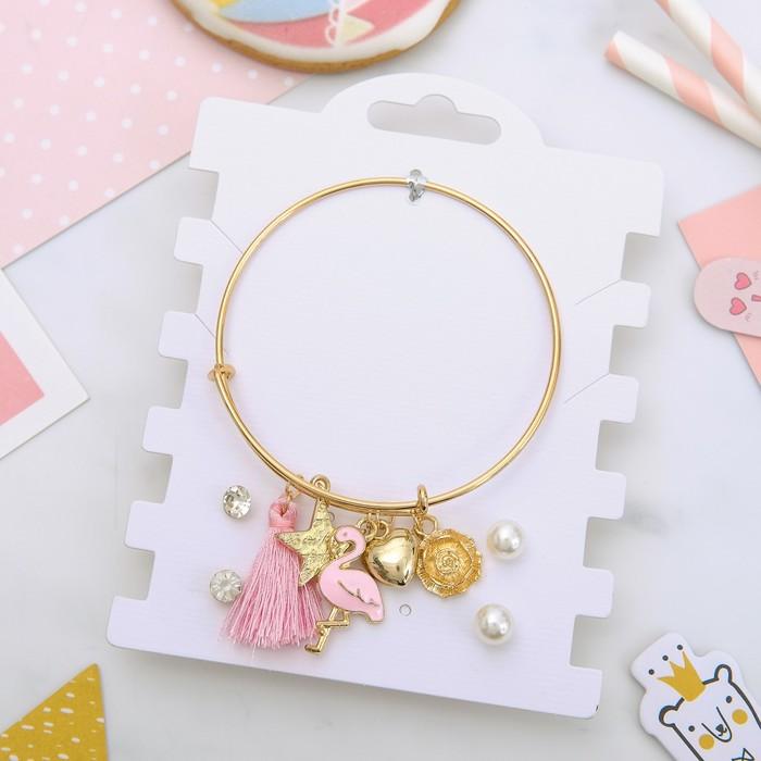 """Набор 3 предмета: 2 пары пуссет, браслет """"Фламинго"""", цветной в золоте"""