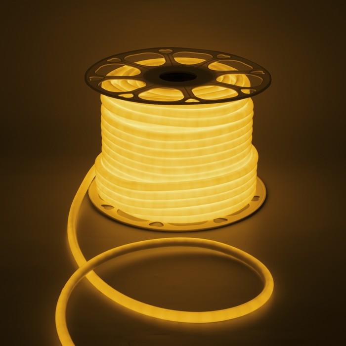 УЦЕНКА Гибкий неон, круглый, D=10 мм, 50 м, LED/м-120-SMD2835-220V, ЖЕЛТЫЙ