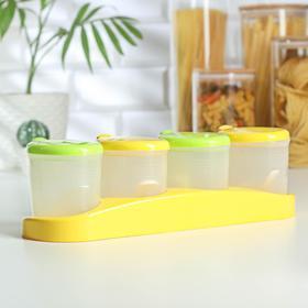 Набор банок для сыпучих продуктов, 340 мл, 4 шт, 31×10×22 см, на подставке, с ложками