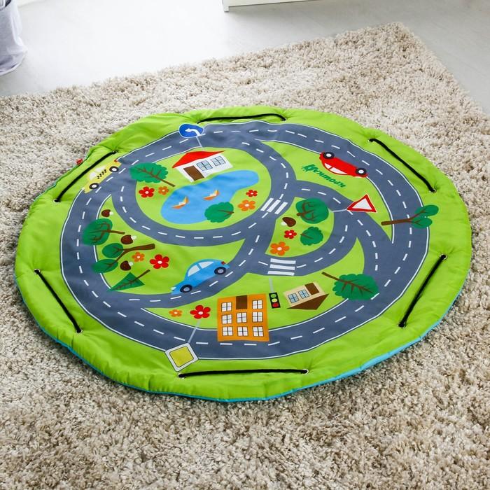 Развивающий коврик - сумка для игрушек «Транспорт», d100см - фото 105523095