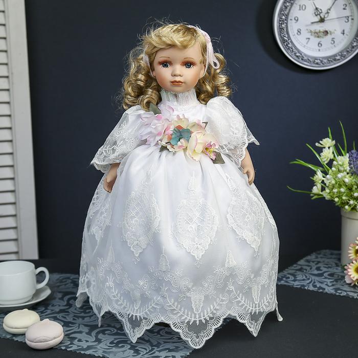 """Кукла коллекционная керамика """"Маленькая Поля в белом платье с цветами"""" 45 см"""