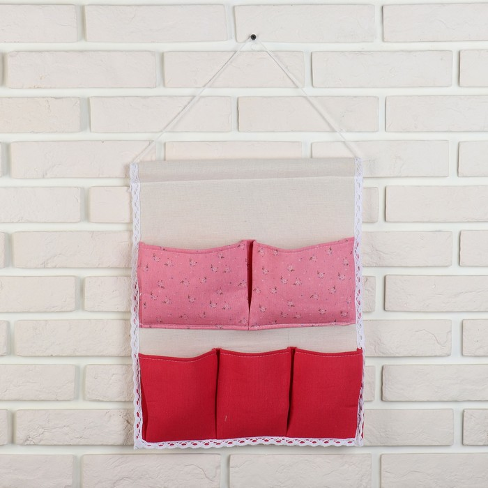 Органайзер с карманами подвесной «Цветочки», 5 отделений, 43×35 см, цвет розово-красный - фото 308332364