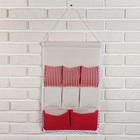 Органайзер с карманами подвесной 54×35 см, 8 отделений, цвет красный