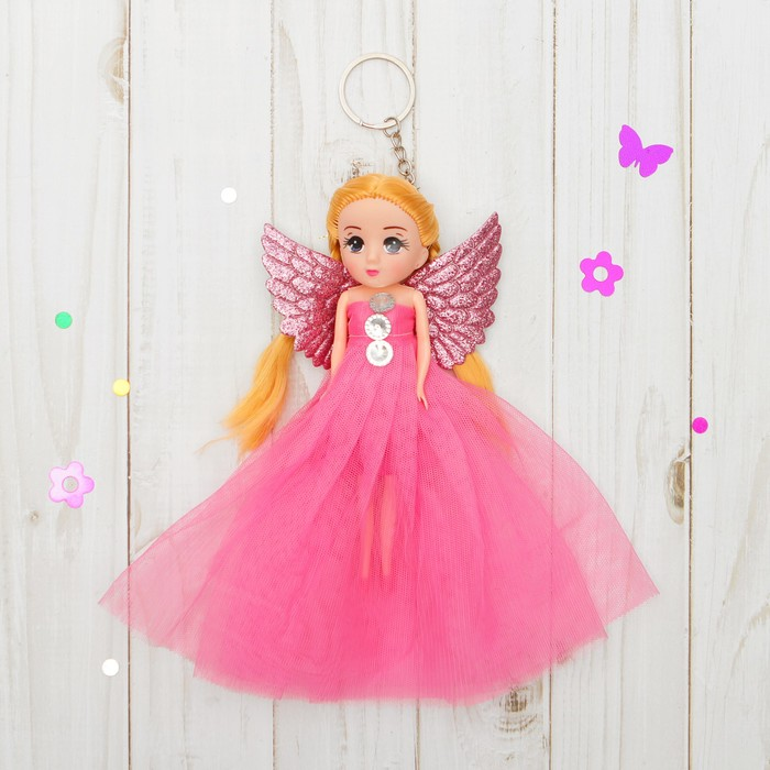 "Кукла-брелок ""Ангел"" с сердцами, цвета МИКС"