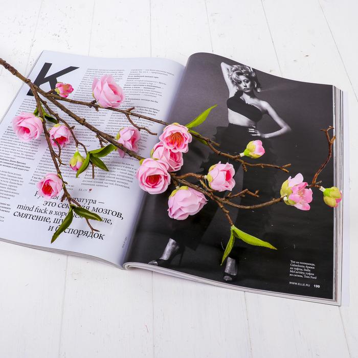 """Цветы искусственные """"Вишнёвый цвет"""" 4*90 см, розовый"""