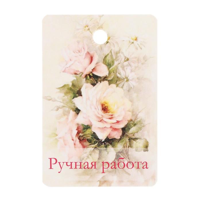 """Бирка картон """"Розы и ромашки"""" двусторонняя 4х6 см"""