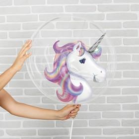 """Шар полимерный 18"""" «Единорог», шар в шаре, с палочкой, цвет фиолетовый"""