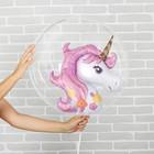 """Шар полимерный 18"""" «Единорог розовый» с палочкой, шар в шаре - фото 308466211"""