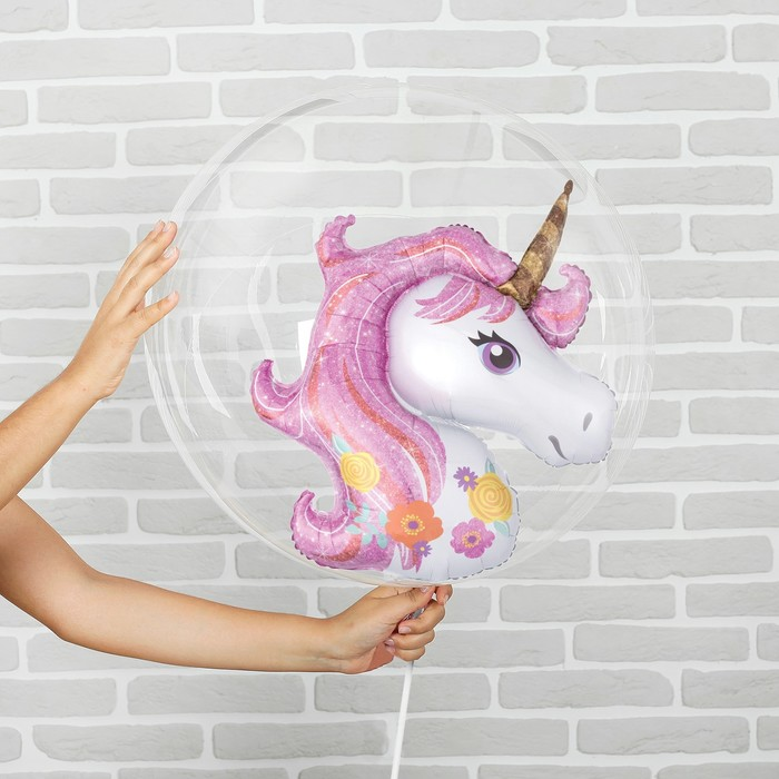 """Шар полимерный 18"""" «Единорог розовый» с палочкой, шар в шаре"""