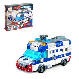 "Designer block ""police van"", light and sound effects, drives, 48 items"