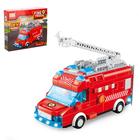 Конструктор блочный «Пожарный фургон», световые и звуковые эффекты, ездит, 60 деталей - фото 105632477