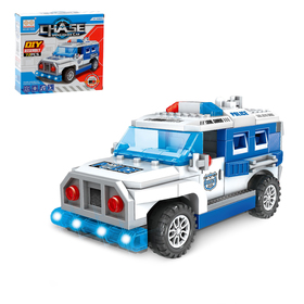 "Designer block ""police jeep"", light and sound effects, drives, 72 details"