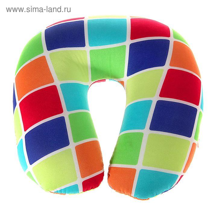 Мягкая игрушка-антистресс подголовник цветная клетка