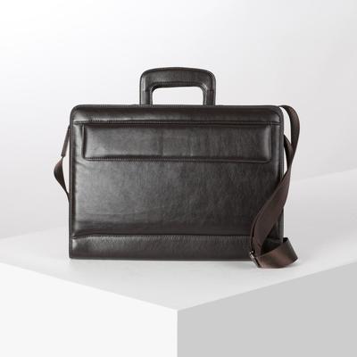 Folder business, Department 2 zippered, 2 external pockets, color brown