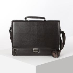 Портфель деловой, 6 отделов, 2 наружных кармана, длинный ремень, цвет коричневый