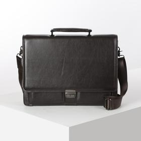 Портфель деловой, 3 отдела, 5 наружных карманов, длинный ремень, цвет коричневый