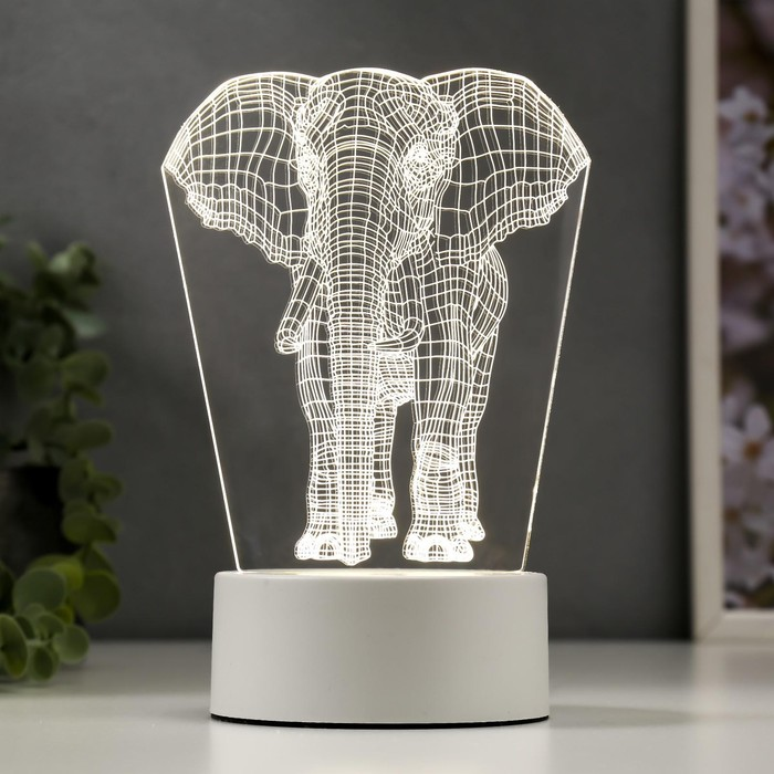 "Светильник ""Слон"" LED белый от сети 9,5х12,5х19см"