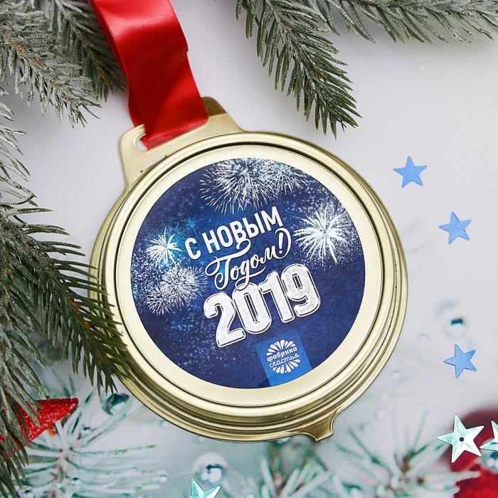 """Шоколадная медаль с лентой """"С Новым годом"""", 45 г"""
