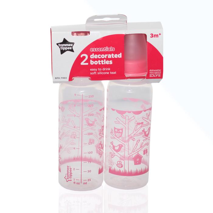 Бутылочка 260 мл, 2 шт, от 3 месяцев, цвет розовый