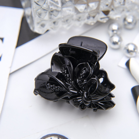 Краб для волос 'Черный' 4 см букет глянец Ош