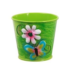 Горшок средний «Цветочек с бабочкой», цвет зелёный
