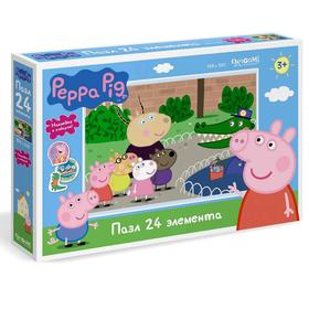 Пазл 24 элементов «Свинка Пеппа. День в зоопарке» + наклейки