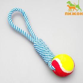 Игрушка канатная плетеная с мячом, до 130 г, до 33 см, микс цветов