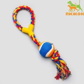 Игрушка канатная с ручкой и мячом, до 150 г, до 35 см, микс цветов