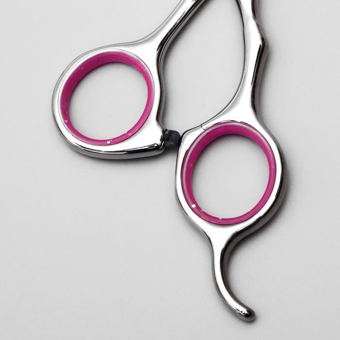 Ножницы для стрижки животных изогнутые с упором для пальца, прорезиненные ручки, для правшей   36796