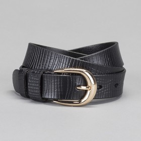 Women's belt, gold buckle, width - 2.6 cm, color black