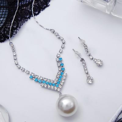 """Headsets 2-piece"""" earrings, pendant """"Pearl"""" bead, color: white blue silver 42 cm"""