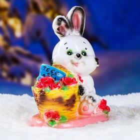 """Копилка """"Кролик с корзиной"""" 23х19см"""