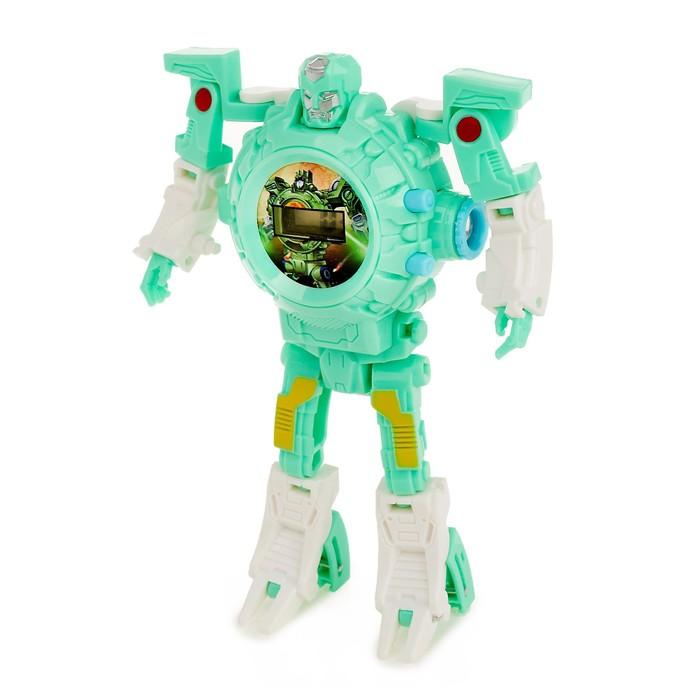Трансформер-робот «Часы» с функцией проектора, цвет бирюзовый