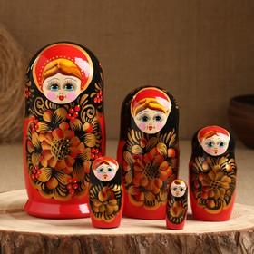 Матрёшка «Рябинка», чёрный платок, 5 кукольная, 18 см
