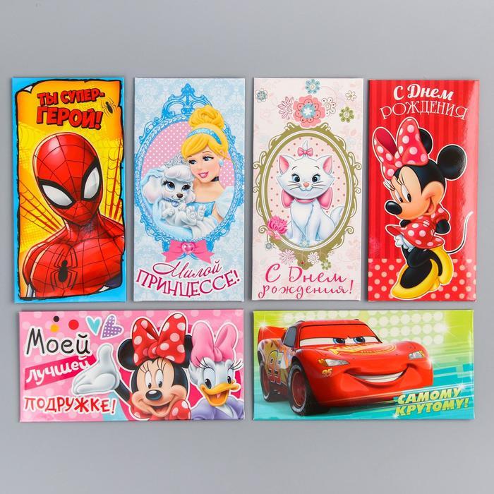 """Набор конвертов для денег """"Disney"""", 6 шт, МИКС"""