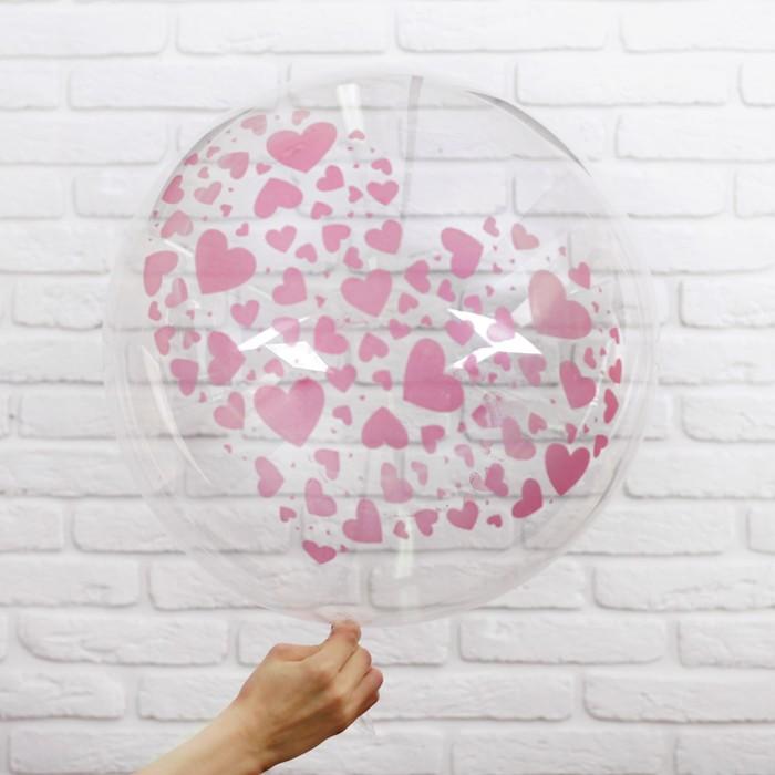 """Шар полимерный 20"""" «Красные сердечки», прозрачный - фото 308466221"""