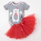"""Комплект: юбка, боди Крошка Я """"Новогодний мишутка"""", серый/красный,  р.22, рост 62-68 см"""