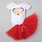 """Комплект: юбка, боди Крошка Я """"Я верю в чудеса"""", белый/красный, р.24, рост 68-74 см"""