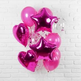 """Букет из шаров """"Романтика"""", фольга, латекс, фиолетовый,  набор из 14 шт."""
