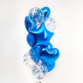 """Букет из шаров """"Романтика"""", фольга, латекс, синий, набор из 14 шт."""