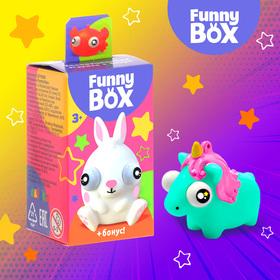 "Play set Funny Box ""Animals"": a card, a figurine, a sticker sheet"