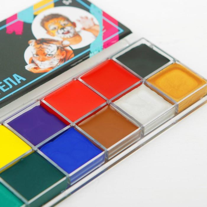 Грим для лица и тела 12 цветов по 4 гр, 2 цвета перламутровые