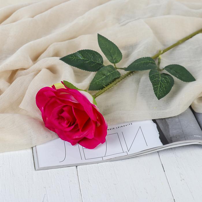 """Цветы искусственные """"Роза Гран При"""" 7*46 см, малиновый - фото 1692497"""