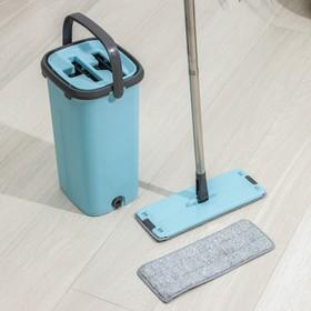 Набор для уборки: ведро с отсеками для полоскания и отжима 12 л, швабра плоская, запасная насадка из микрофибры - фото 4644117