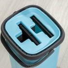 Набор для уборки: ведро с отсеками для полоскания и отжима 12 л, швабра плоская, запасная насадка из микрофибры - фото 4644118