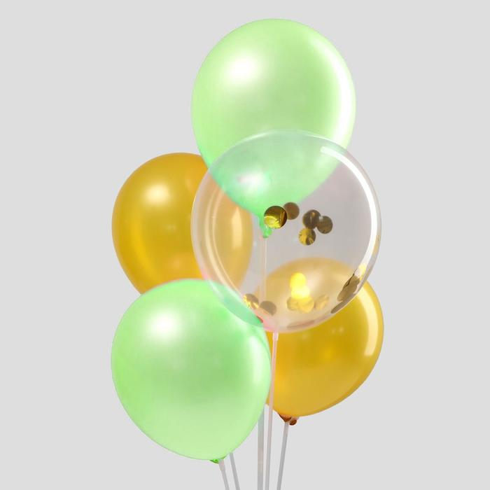 Букет из шаров «Летняя фантазия», латекс, с конфетти, набор 15 шт. - фото 952215