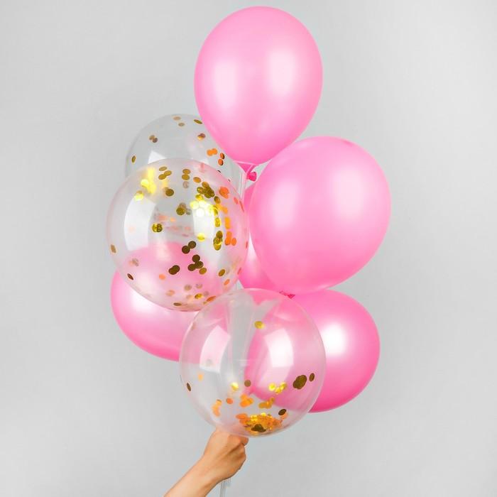 Букет из шаров «Праздничный», латекс, с конфетти, набор 10 шт. - фото 308468266