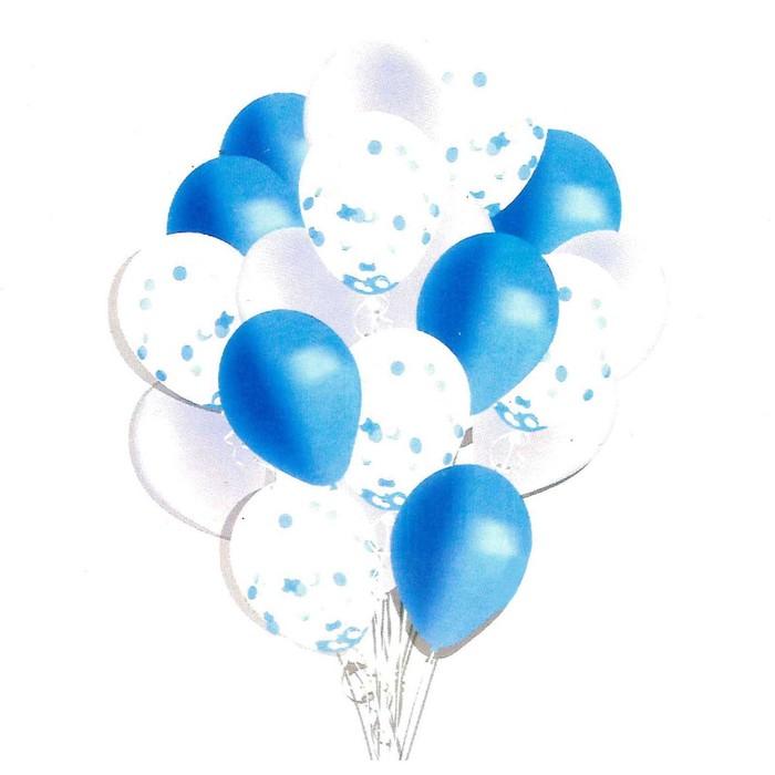 Букет из шаров «Мечта романтика», латекс, с конфетти, синий, набор 18 шт. - фото 308468268