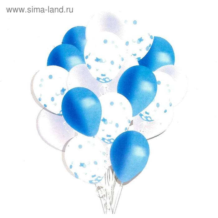 """A bouquet of balloons """"Dream romance"""", latex with confetti, blue, set of 18 PCs."""