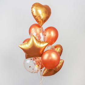 """Букет из шаров """"Романтика"""", фольга, латекс, розовое золото, набор 14 шт."""
